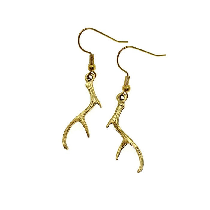 4ba495fa2 Pewter Gold Deer Antler Earrings
